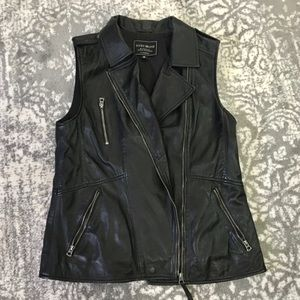 Lucky Brand black leather vest size medium